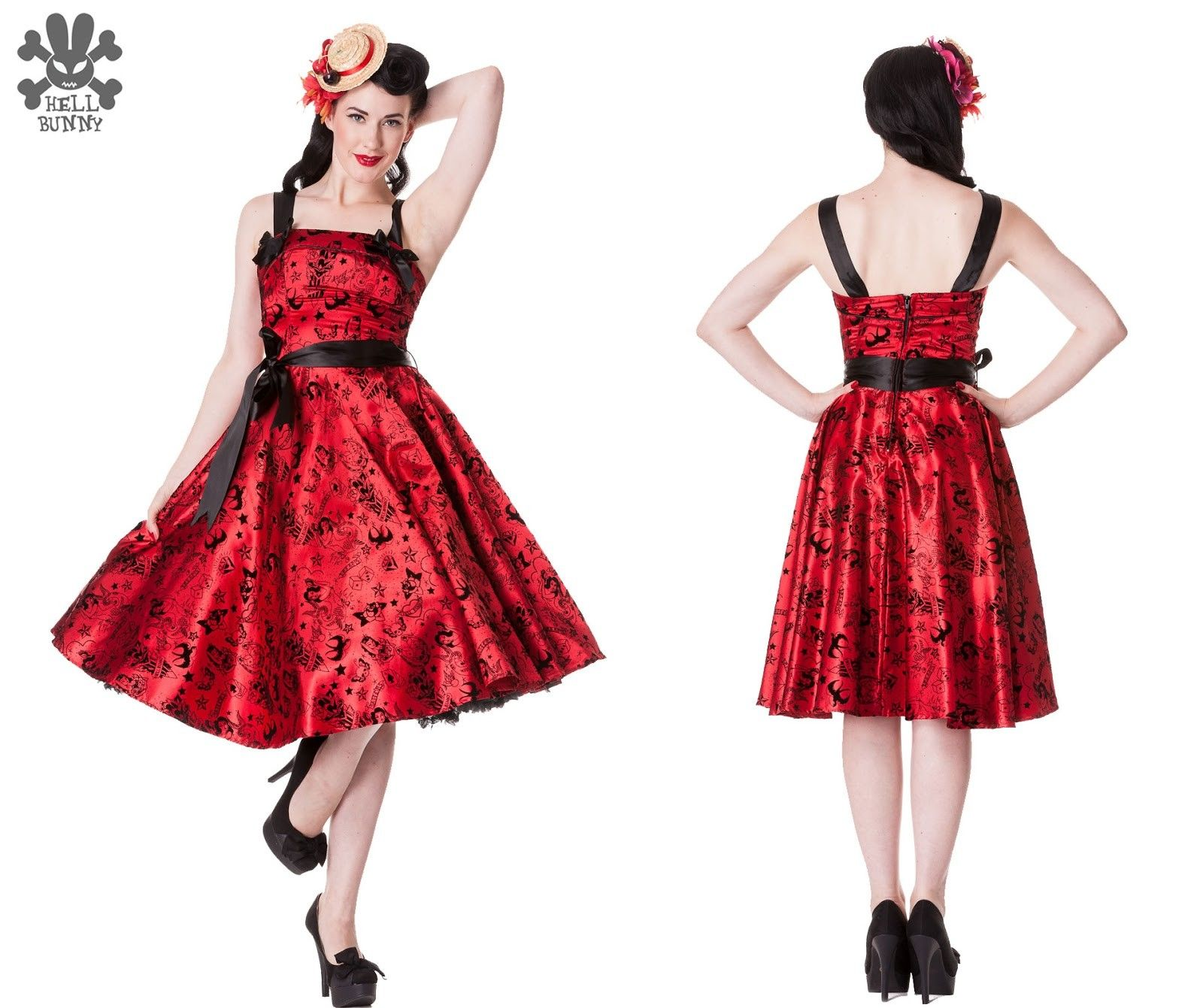 Hell Bunny red tattoo flock dress