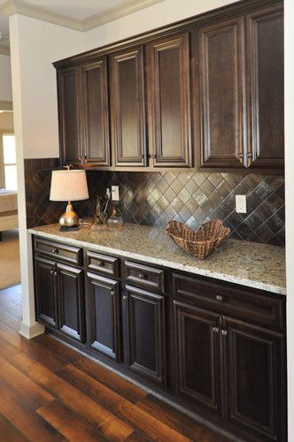 dark cabinets and floor