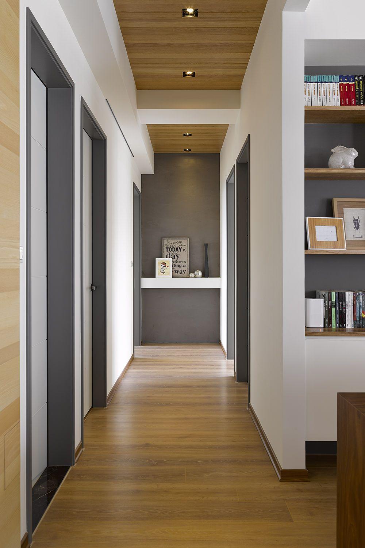 couloir gris blanc et bois d co pinterest maison couloir et amenagement maison. Black Bedroom Furniture Sets. Home Design Ideas