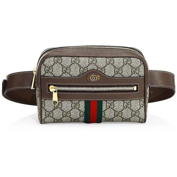 b2d648ae4 Gucci Ophidia GG Supreme Small Belt Bag ($1,390) ❤ liked on Polyvore  featuring bags, handbags, hand bags, man bag, canvas fanny pack, brown  handbags and ...