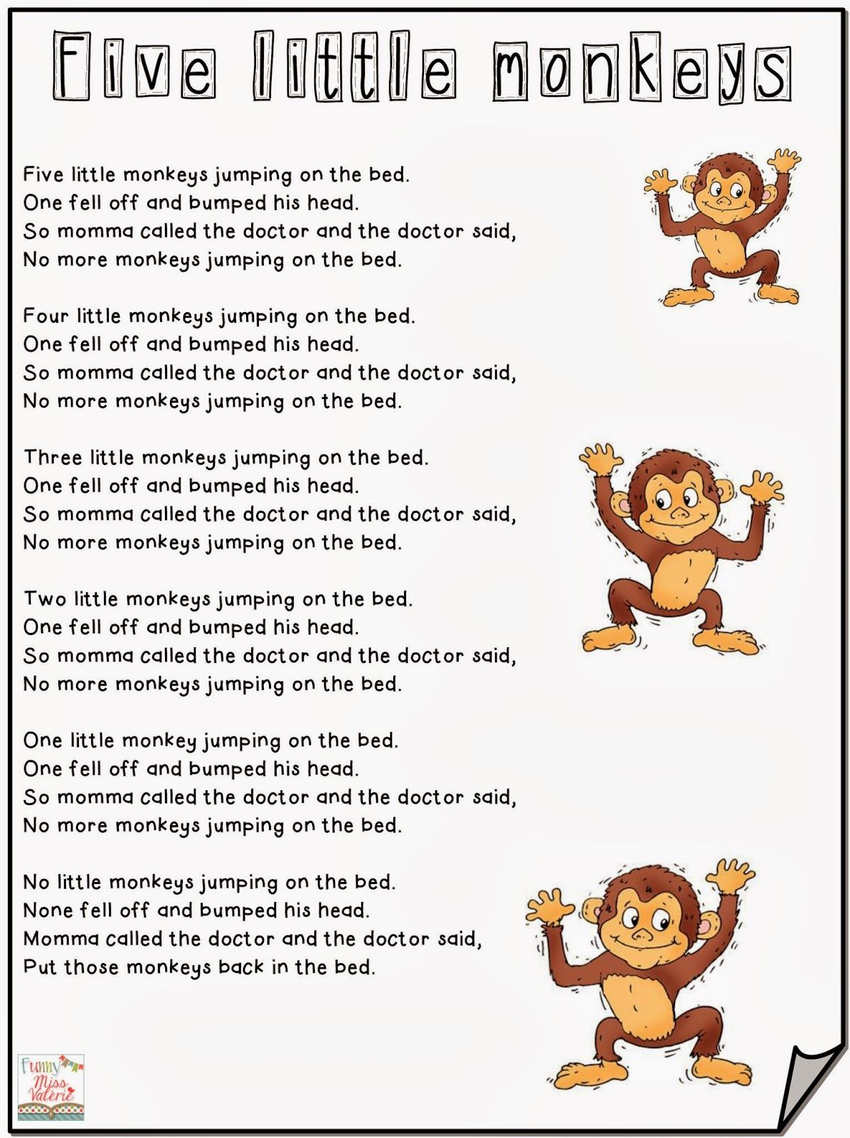 Pequenos Recursos Infantiles Canciones En Ingles Five Little Monkeys Jumping On The Bed