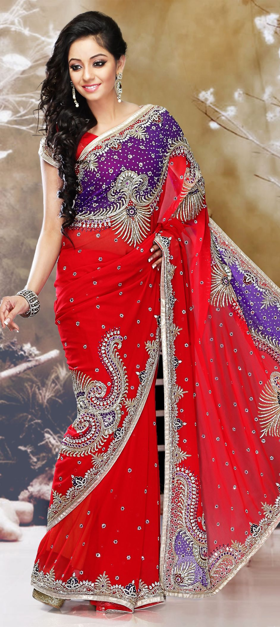 6c6554a25ac2 160271: Red and Maroon color family Bridal Wedding Sarees with matching  unstitched blouse.