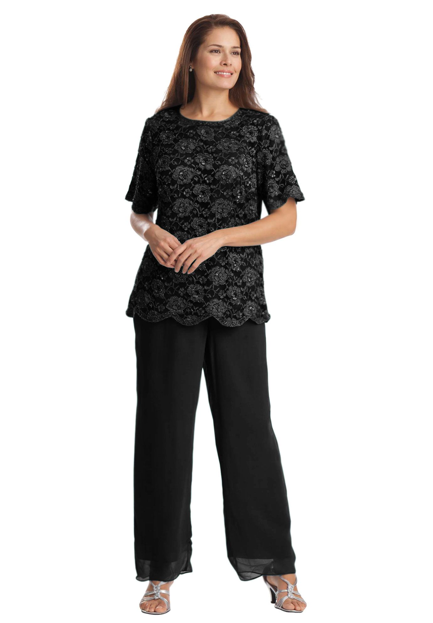 Beaded Tunic And Pant Set Plus Size Special Occasion