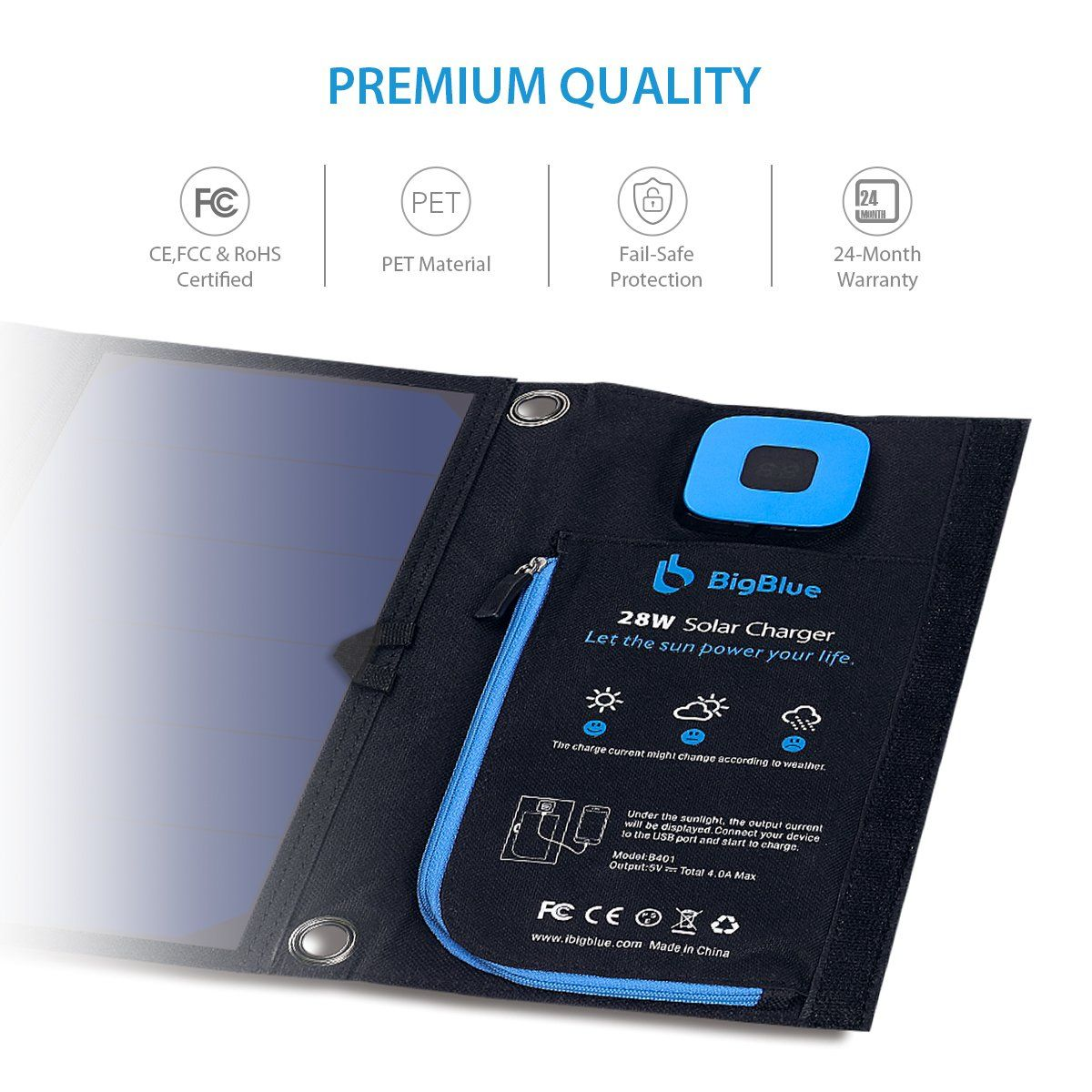 Bigblue 5v 28w Solar Charger With Digital Ammeter Waterproof Foldable Dual Usb Ports Solar Battery Charger Solar Charger Digital Ammeter Solar Charger Portable