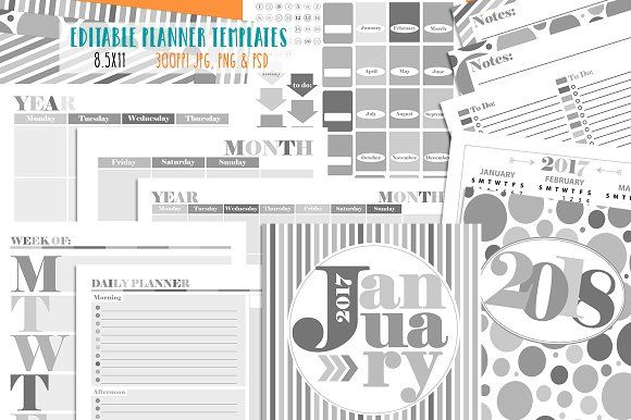 Customizable Planner Page Templates by Studio Kitsch on