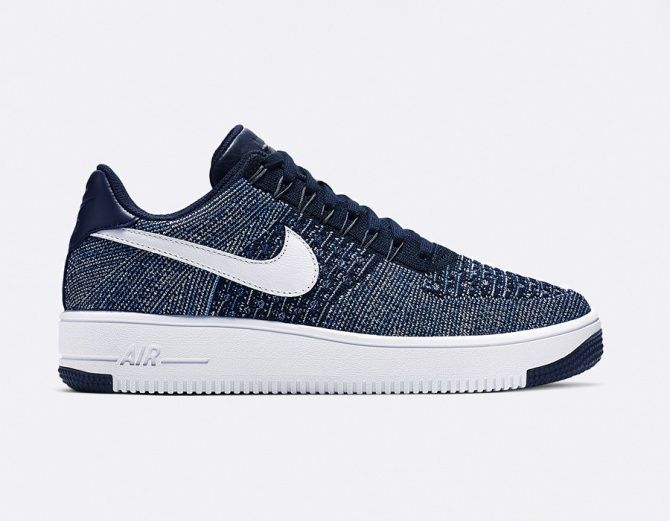 nike air force 1 flyknit low bleu