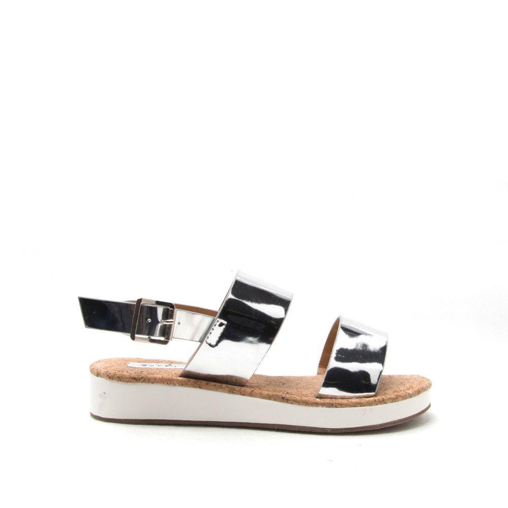 d966d014b18 FLIP-07 Silver Shiny Metallic Two Band Flatform Sandal