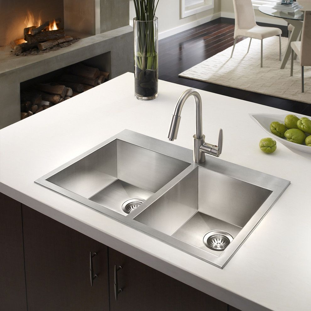 Houzer BCD-3322 Bellus Series Zero Radius Topmount Stainless Steel 1-Hole 50//50 Double Bowl Kitchen Sink