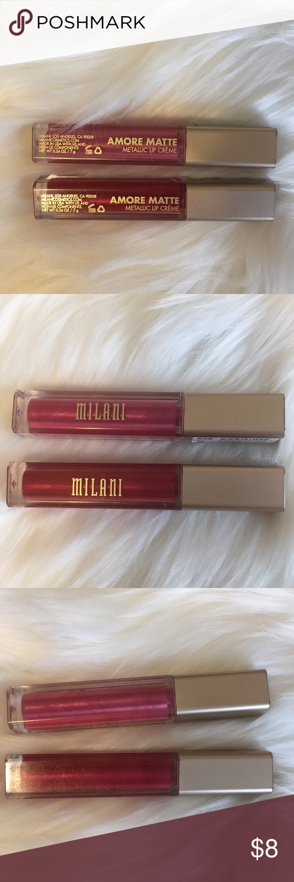 MILANI Metallic Cinematic Kiss and Mattely in Love MILANI Amore Matte Metallic Lip Crème in Cinematic Kiss and Mattely in Love. Products were used, and sanitized. Lots of liquid lip left in them! Milani Makeup Lipstick