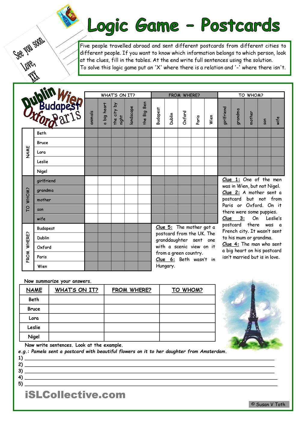 Logic game (43rd) - Postcards *** for elementary ss *** with key *** fully editable *** B&W