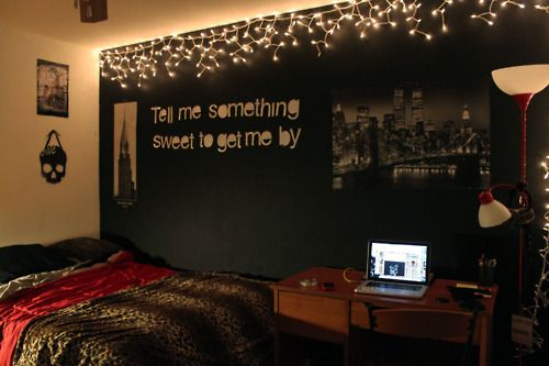 love the lights, lyrics, one wall dark, and leopard blanket ...