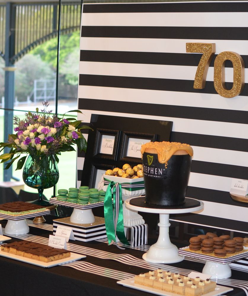 70th Birthday Dessert Table - Guinness Theme