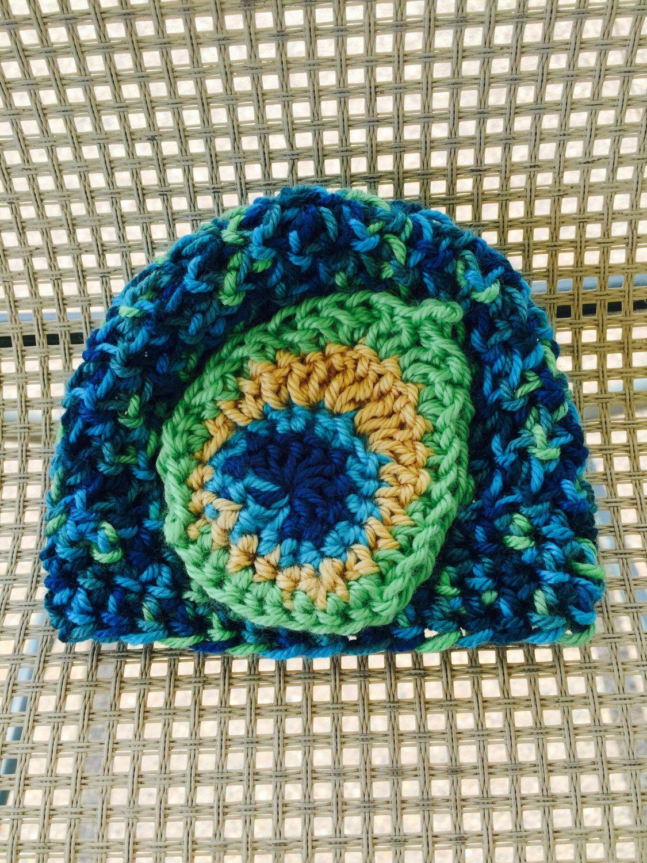 Crochet baby hat, Peacock, crochet feather, baby hat