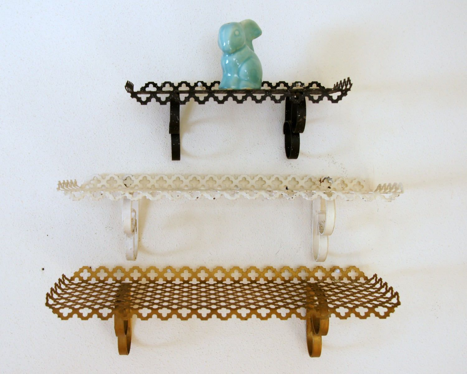 Vintage Wall Shelf Gold White Black Punched Metal