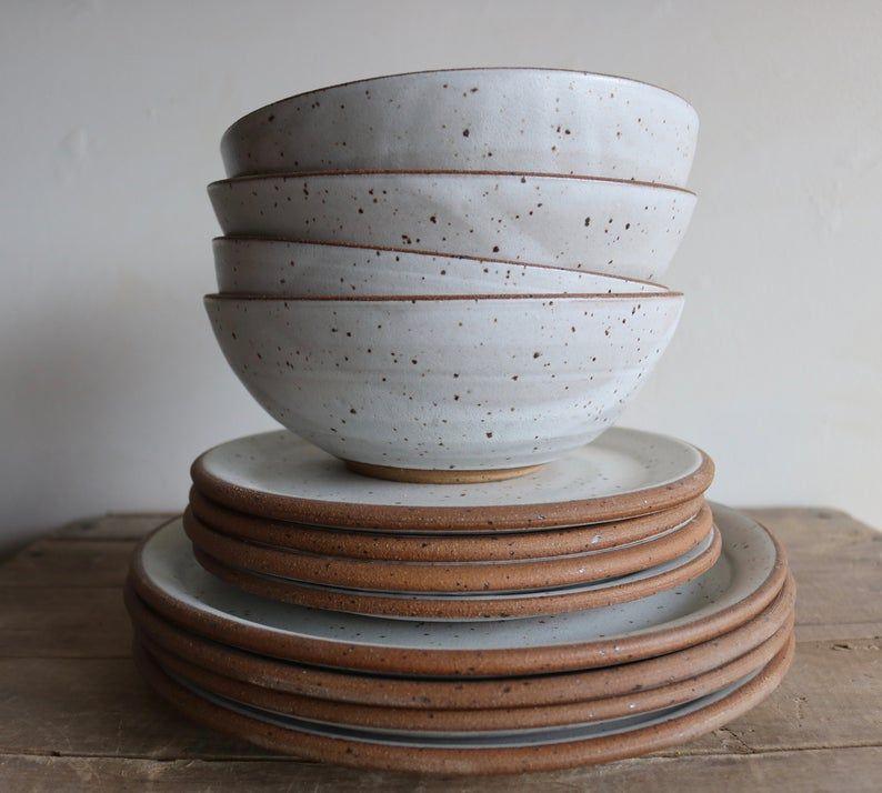 Dinner Plate Salad Plate Bowl Raw Edge Dinnerware Set In 2020 Ceramic Dinnerware Set Dish Sets Dinnerware Dinner Plates