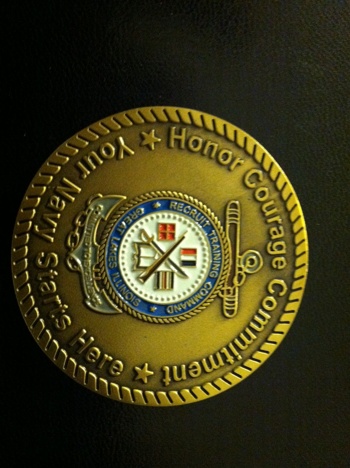 USN Challenge Coin that my Daughter recieved from the Base Commander for Graduating as her Division Honor Graduate!