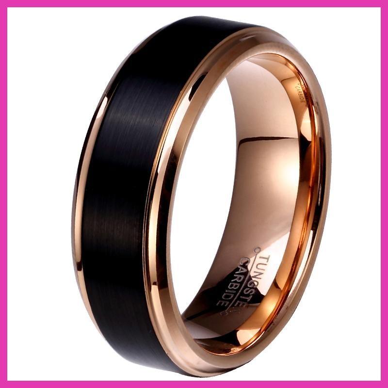 8mm6mm4mm Black Rose Gold Color Tungsten Carbide Wedding Band