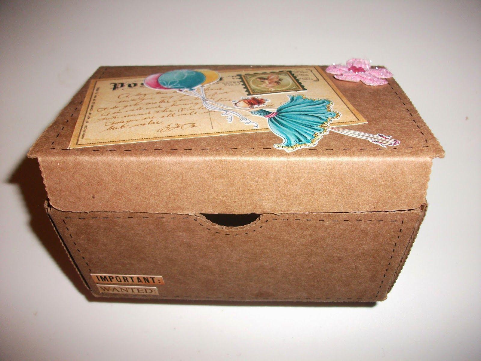 Fabrica Tu Mundo De Manualidades Caja De Carton Decorada I Caja De Carton Cajas Cajas Decoradas De Carton