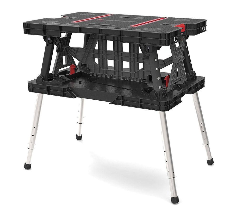 Keter Adjustable Folding Compact Table Work Station 36 4 L X 23 4 W X 6 5 H Keter Keter Folding Work Table Work Table Folding Workbench