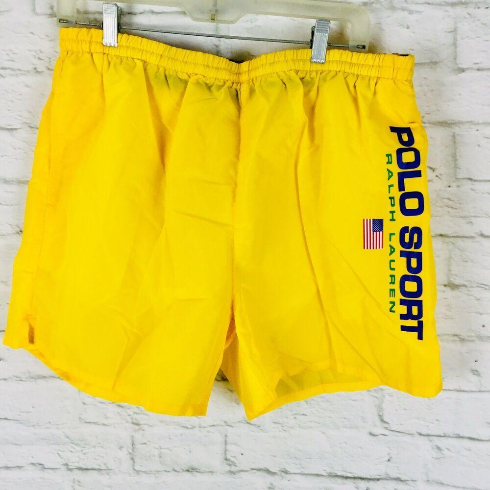 2b84496e8f Vintage Polo Sport Ralph Lauren Mens XL Big Logo Lined Swim Trunks Yellow  Blue #PoloSport #Trunks