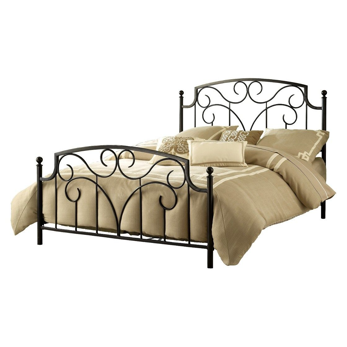 Hillsdale Cartwright Bed Set with Rails Beige (Queen