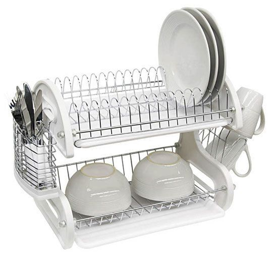 Home Basics 2 Tier Dish Rack New 2 Tier Dish Drainer Set In White  My Architecture Style  For The Decorating Inspiration