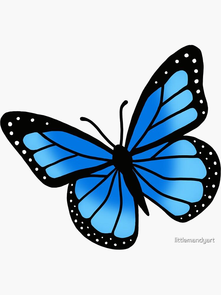 Blue Butterfly Sticker By Littlemandyart In 2021 Butterfly Painting Butterfly Drawing Butterfly Art Painting