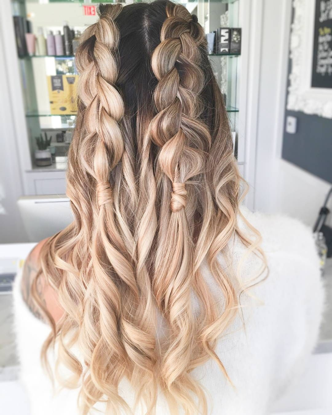 Two Braids Are Better Than One Half Up Braids With Curls Ombre Blonde Hair Braided Hairstyles Hair Beauty Braids With Curls