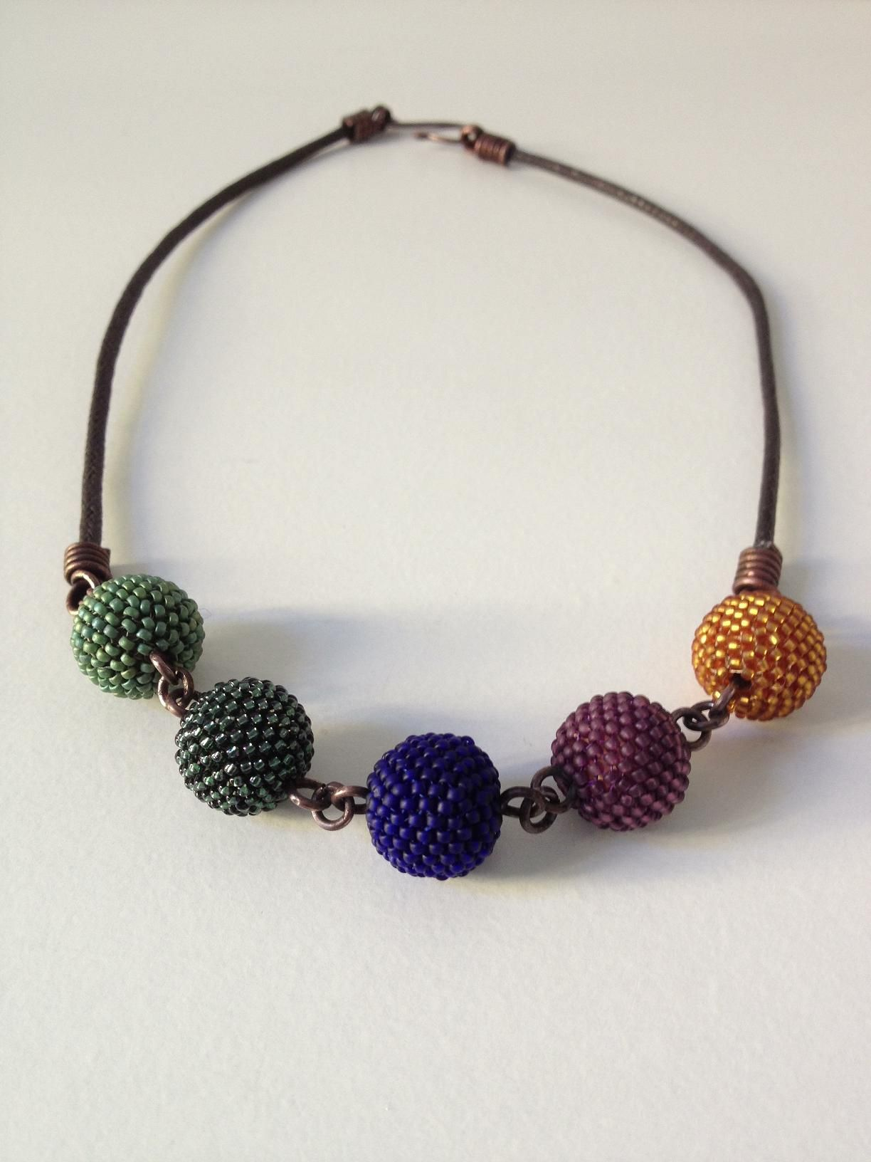 Beaded Bead Necklace In Sage Green, Forest Green, Cobalt Blue,