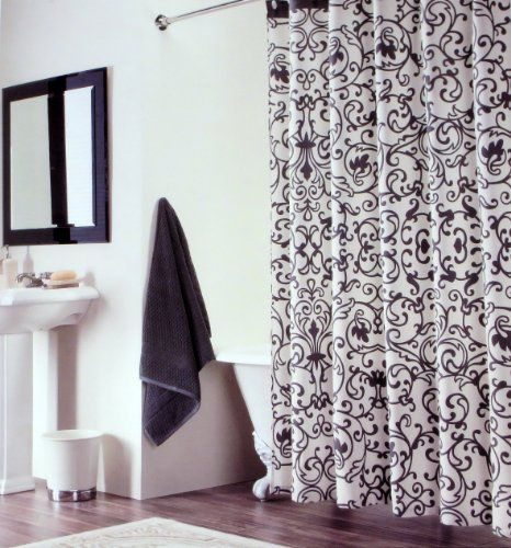 Shower Curtain Fabric Tahari Home Scroll Baroque Design In Black