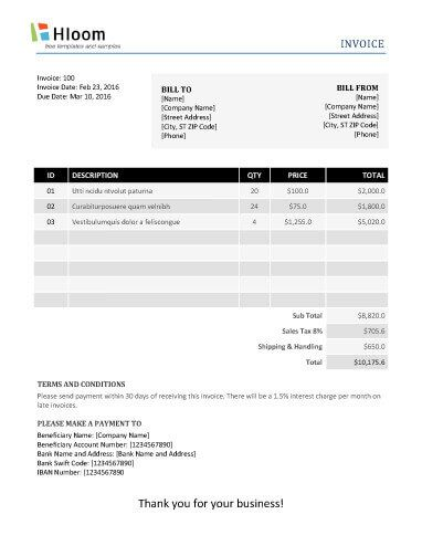 Free Invoice Template by Hloom TE Pinterest Template - product invoice template