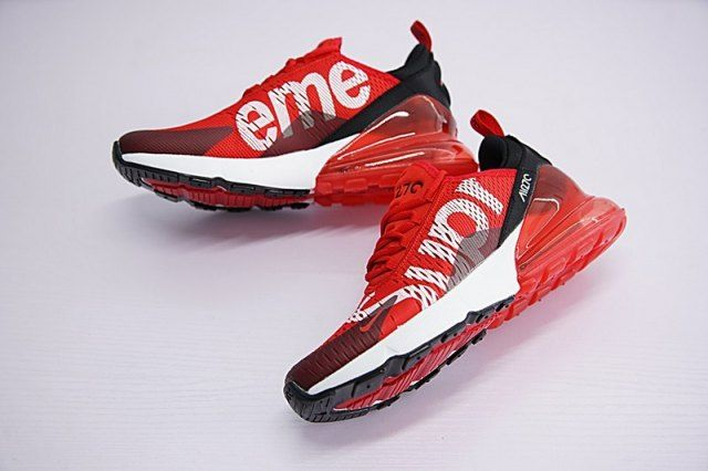 67de4d3e199202 Supreme x Nike Air Max 270 Red Black White Men s Running Shoes in ...