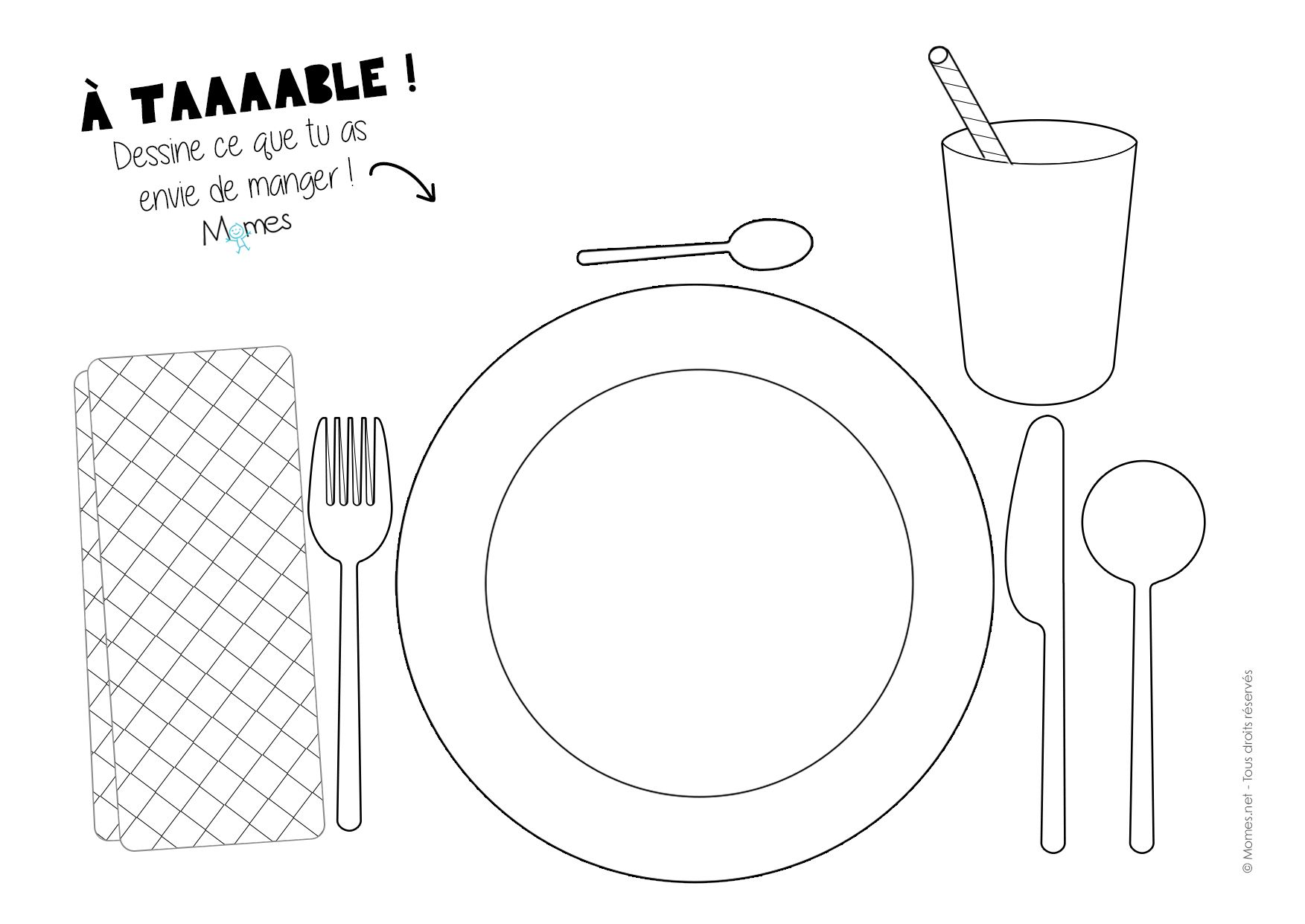 set de table a colorier set de table
