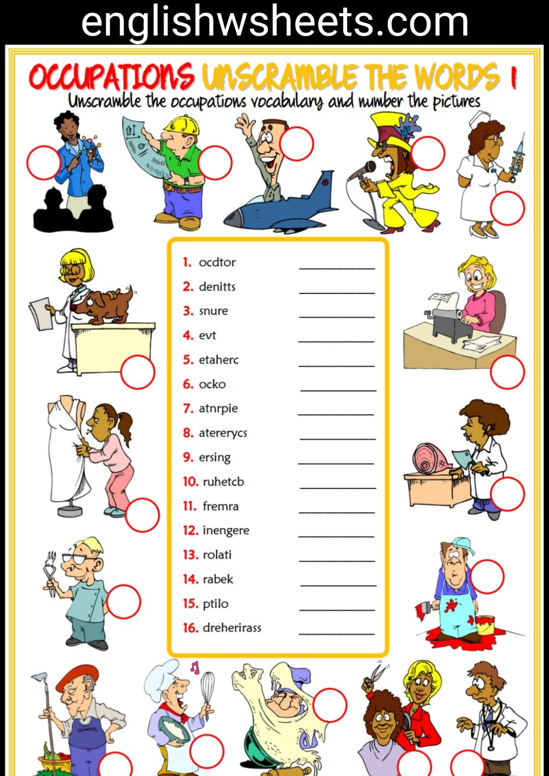 In the living room missing letters in words worksheet - Jobs Esl Printable Unscramble The Words Worksheets For Kids Jobs Occupations Professions