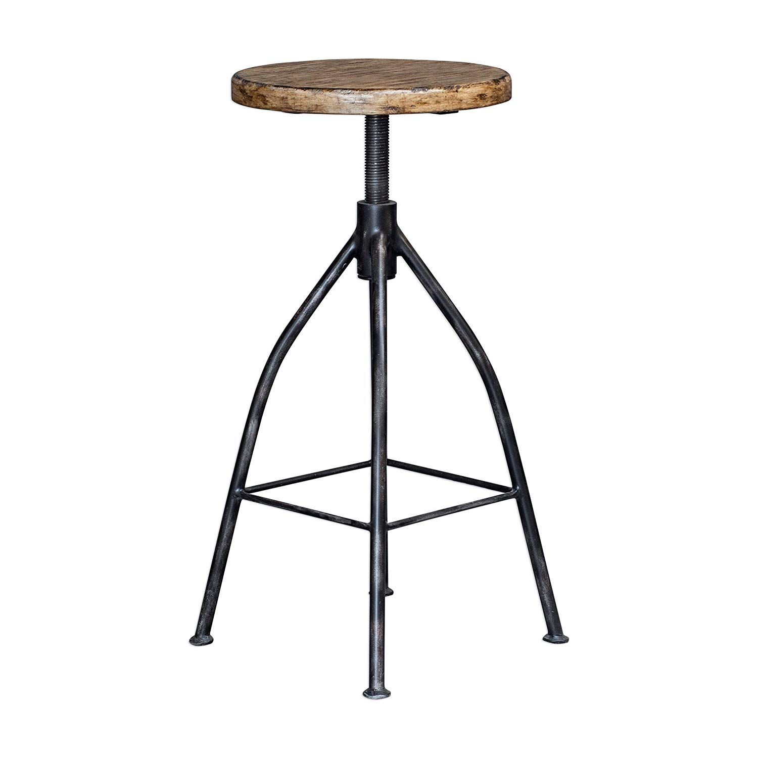 Miraculous My Swanky Home Industrial Vintage Style Round Pub Barstool Caraccident5 Cool Chair Designs And Ideas Caraccident5Info