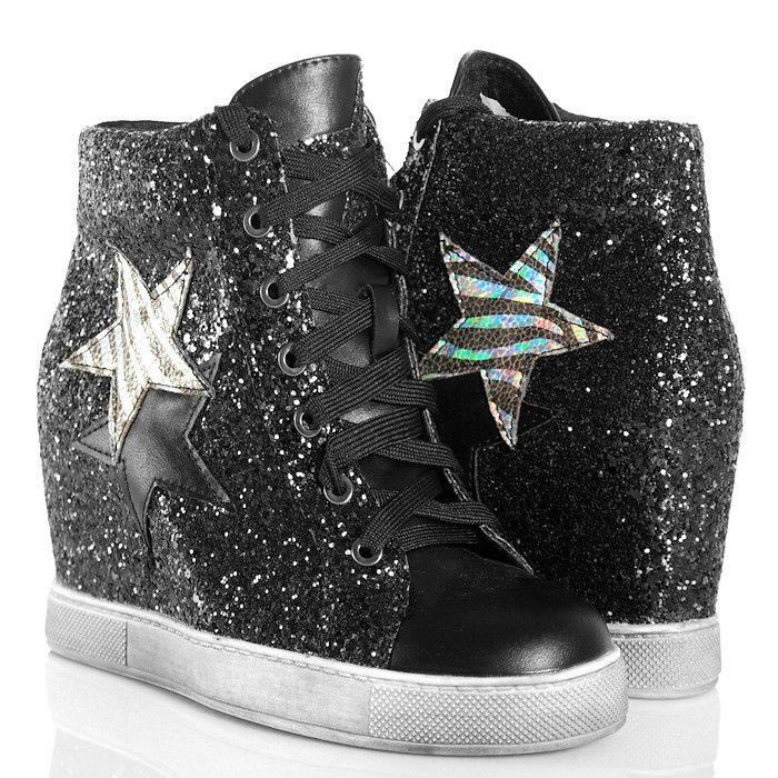 Sneakersy Czarne Brokatowe Na Koturnie High Top Sneakers Wedge Sneaker Top Sneakers