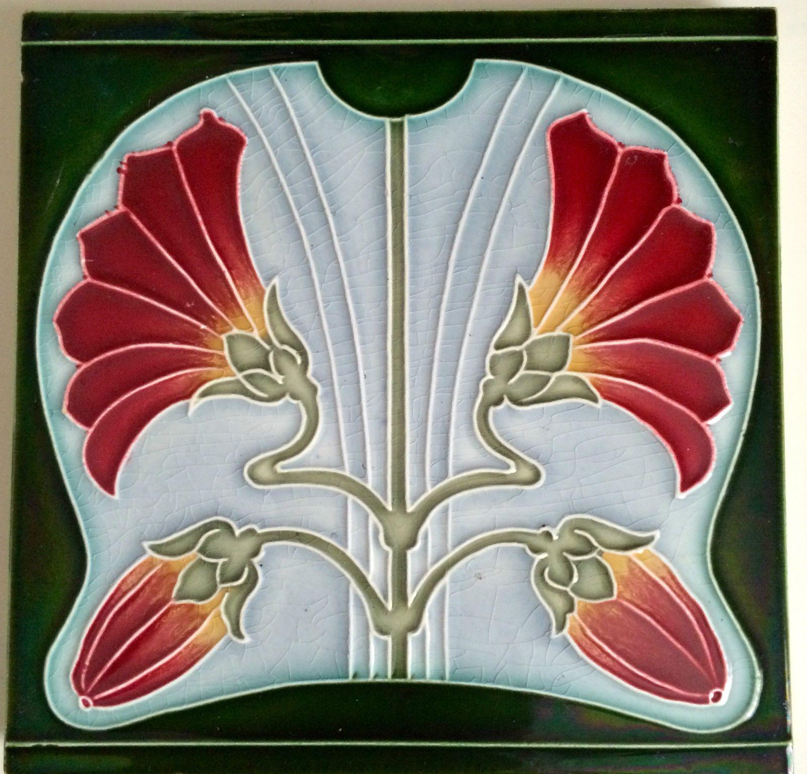 Vintage Art Nouveau Floral Majolica Tile 5 75 X 5 75 Ebay Art Nouveau Floral Art Deco Tiles Art Nouveau