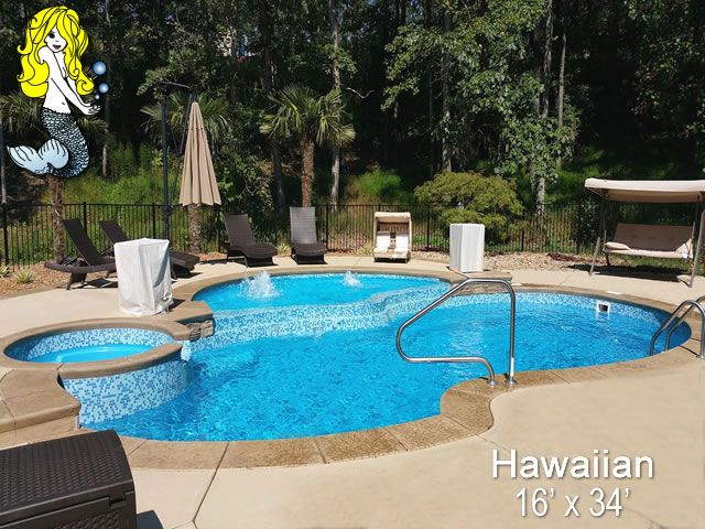 Hawaiian 16 X 34 Fiberglass Pool Swimming Pool With Built In Spill Over Spa Featuring Surrounding Relaxation Fiberglass Pools Swimming Pool House Spa Pool