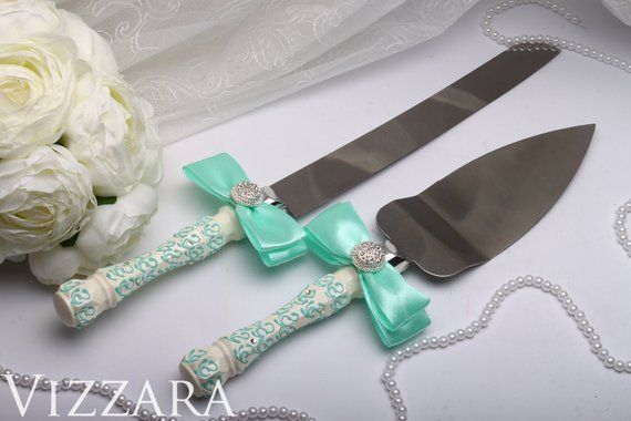 Personalised Wedding Cake Knife Set Mint Servers Knives Accessories Weddin