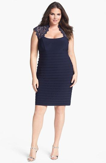 Xscape Lace Yoke Banded Sheath Dress (Plus Size) available at #Nordstrom