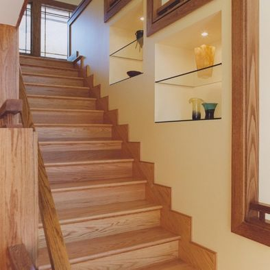 oak trim stair design with light gold yellow walls. Black Bedroom Furniture Sets. Home Design Ideas