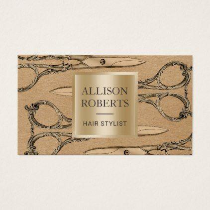 Hair stylist salon gold scissor vintage kraft business card reheart Image collections