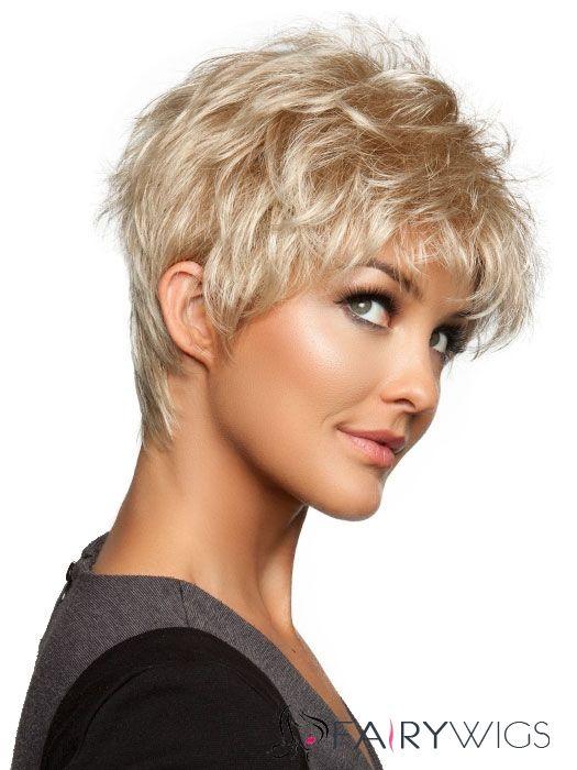 Fluey Short Wavy Blonde 8 Inch 100 Human Hair Wig Wispy Hair Short Hair Wigs Thick Hair Styles