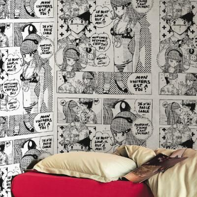castelbajac manga wall paper papier peint juste un l dans le bureau ou une chambre et le. Black Bedroom Furniture Sets. Home Design Ideas