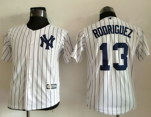 buy online ea4ea 36bcf Yankees #13 Alex Rodriguez White Name Back Stitched Youth ...