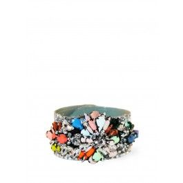 Multi colored crystal bracelet with glitter covered PVC backing