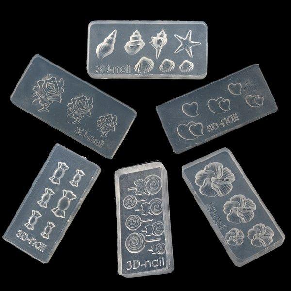 Random Pattern 6PCS 3D Nail Art Acrylic Mold | Health and Beauty ...
