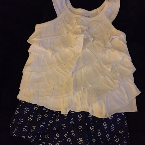Outfit Crazy 8 white ruffled tank top with matching dark blue flower print shorts Crazy 8 Other