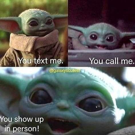 Baby Yoda On Instagram Dm This To Them Credit Galaxyscutest Yoda Meme Yoda Funny Star Wars Jokes