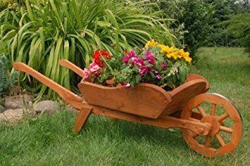Deko shop hannusch brouette d corative en bois massif taille xxl jardin ripanj en - Brouette de jardin en bois ...